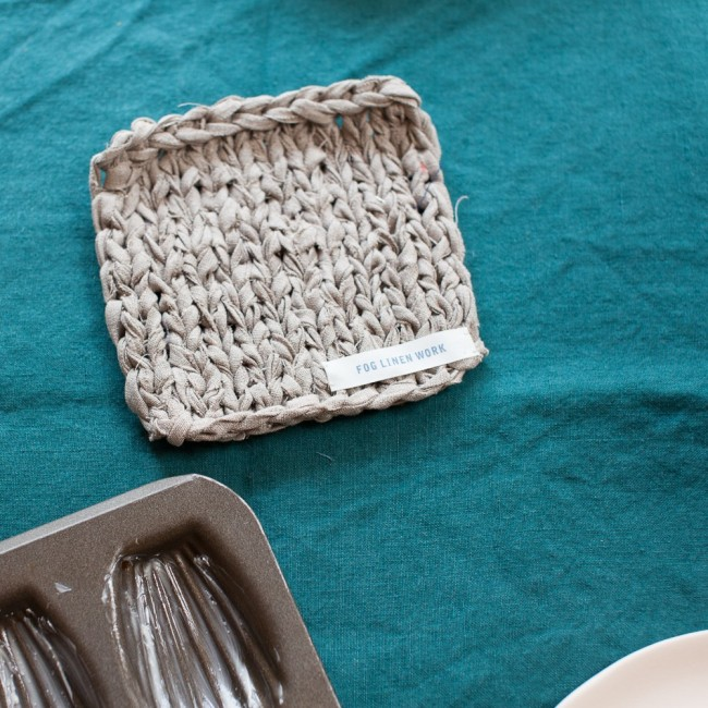 Carré tricoté en lin Fog linen