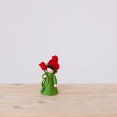 Red Tulip fairy with stem