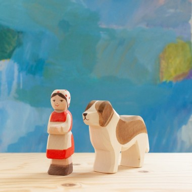 Heidi et son chien Saint Bernard Hercule