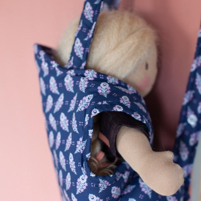 Porte-bébé en Liberty bleu